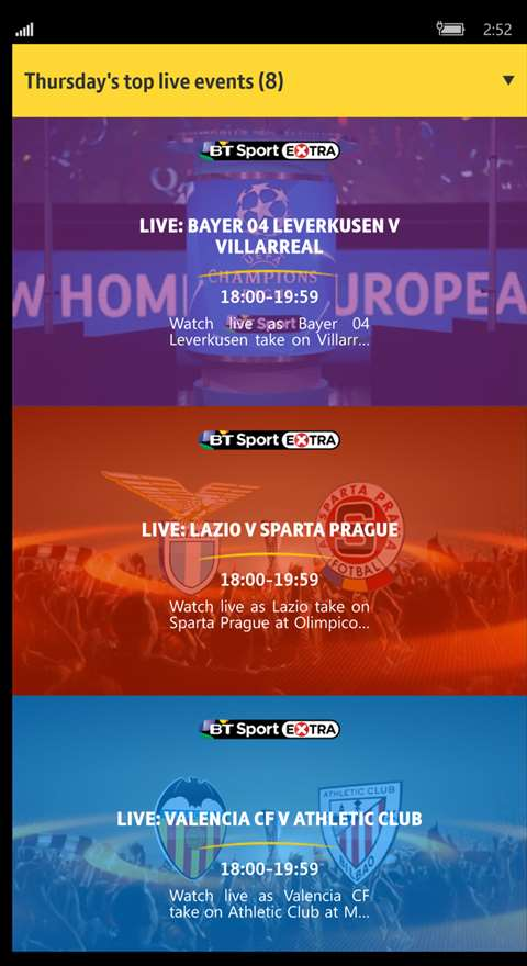 Screenshot, BT Sport