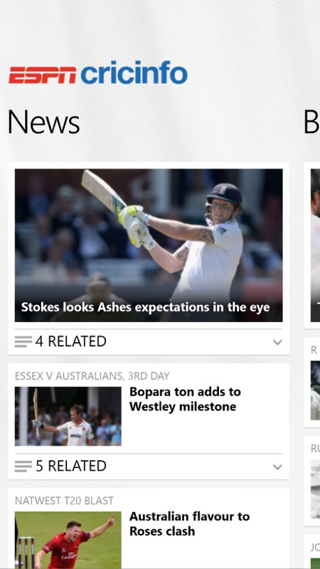 Screenshot, ESPNcricinfo