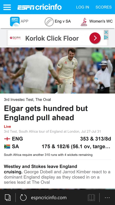 Cricinfo screenshot