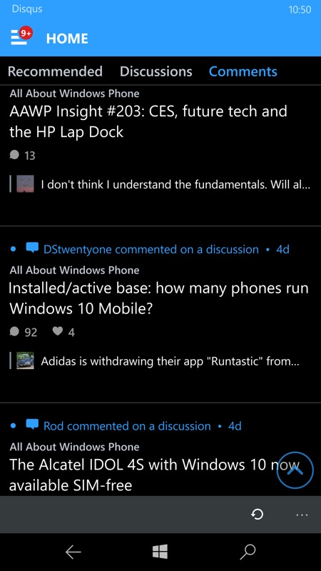 Screenshot, Disqus UWP
