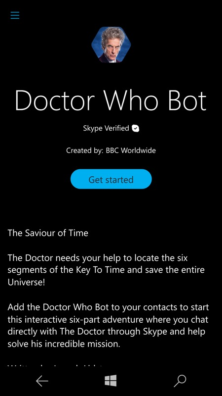 Screenshot, Dr Who bot