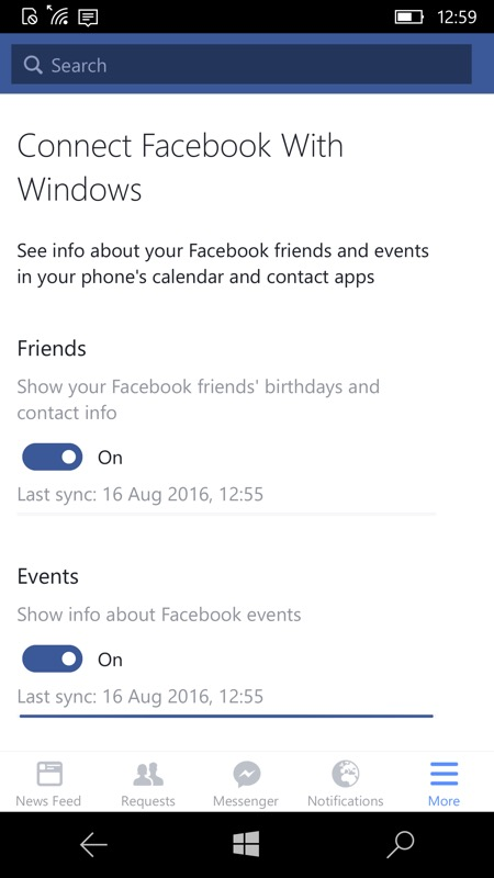 Screenshot, Facebook sync