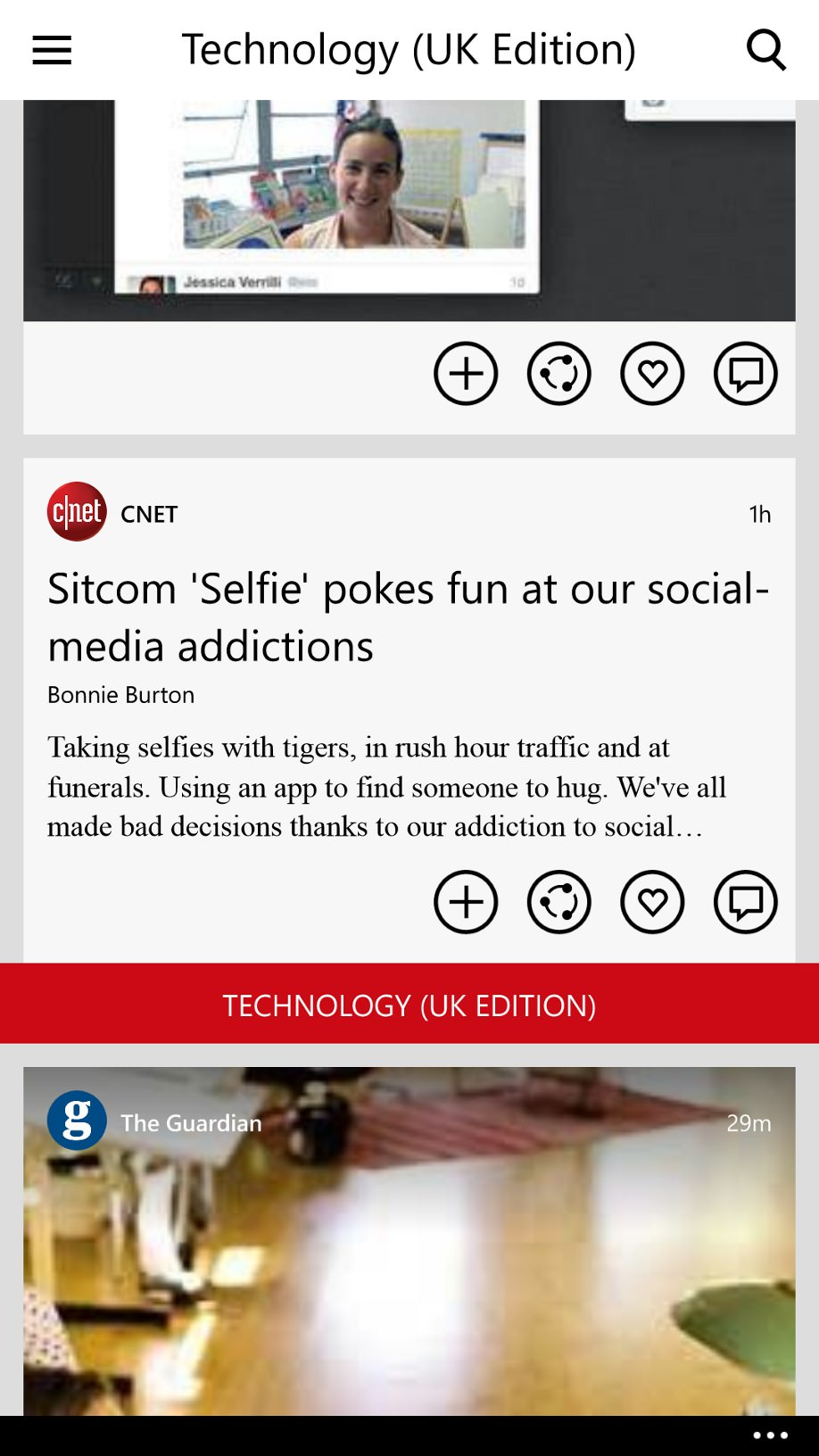Flipboard screenshot on Windows Phone
