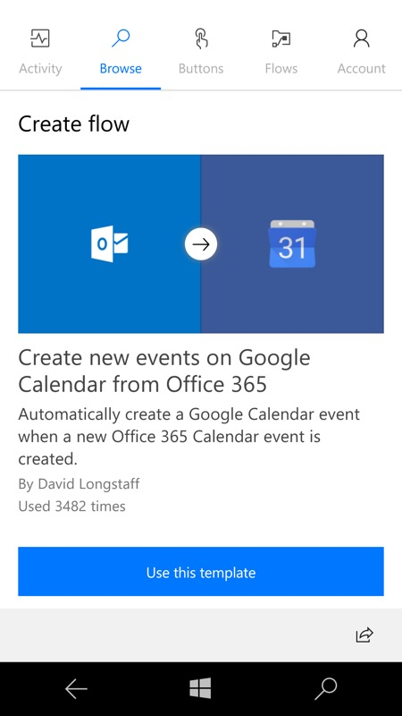 Screenshot, Microsoft Flow UWP