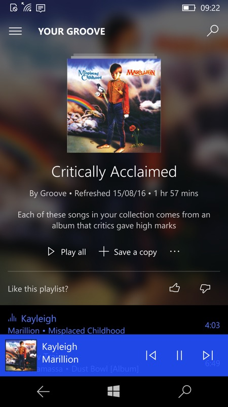 Screenshot, Groove Music