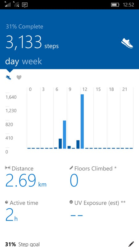 Screenshot, Microsoft Health