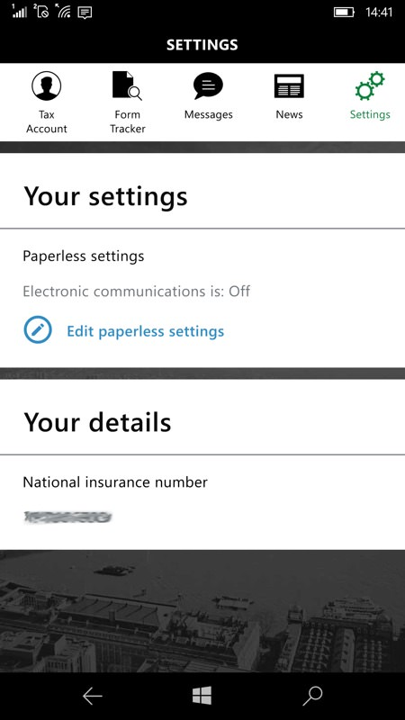 Screenshot, HMRC UWP app