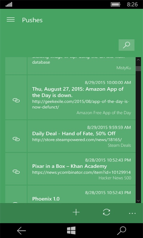 Screenshot, Instabullet for Pushbullet