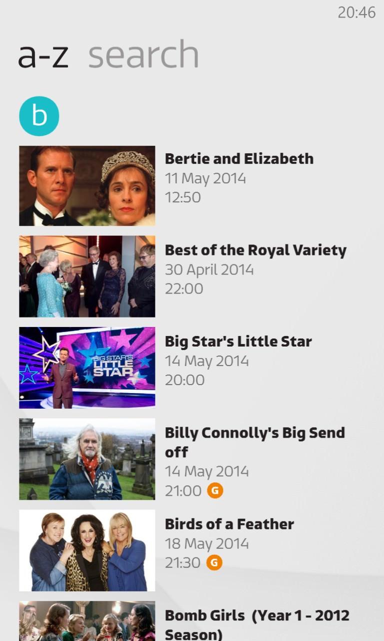 Screenshot, ITV Player