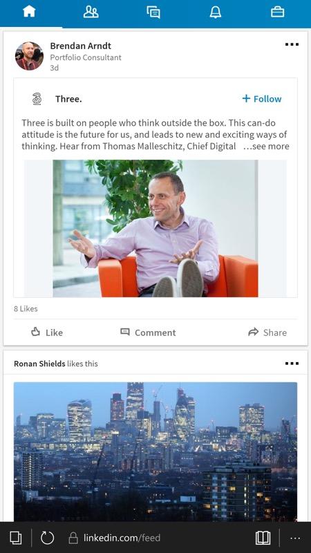 Screenshot, LinkedIn