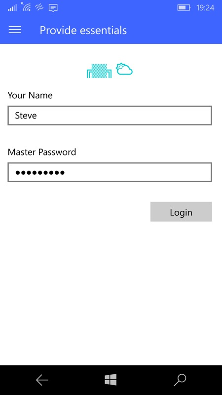 Screenshot, Master Password UWP