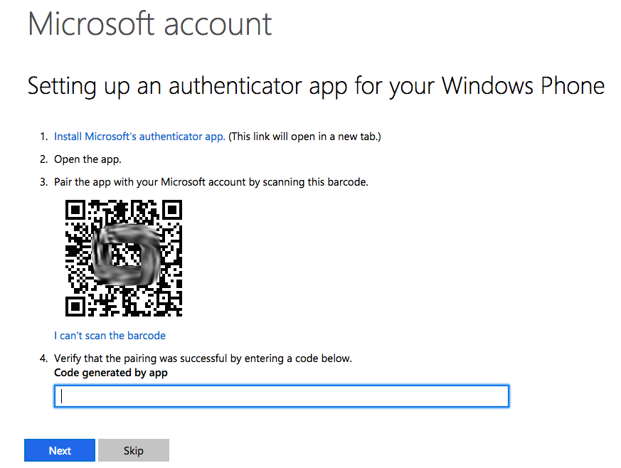 Authenticator and a two factor security reminder
