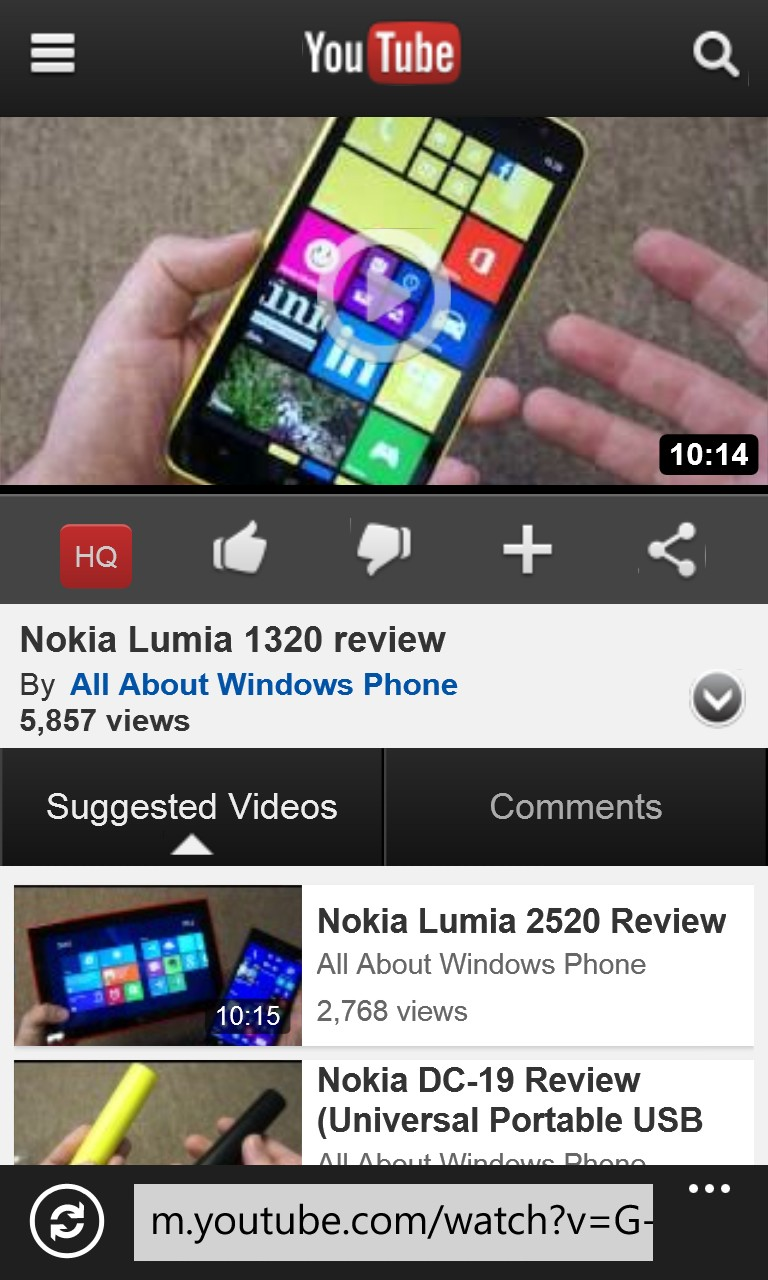 Screen, YouTube on Windows Phone
