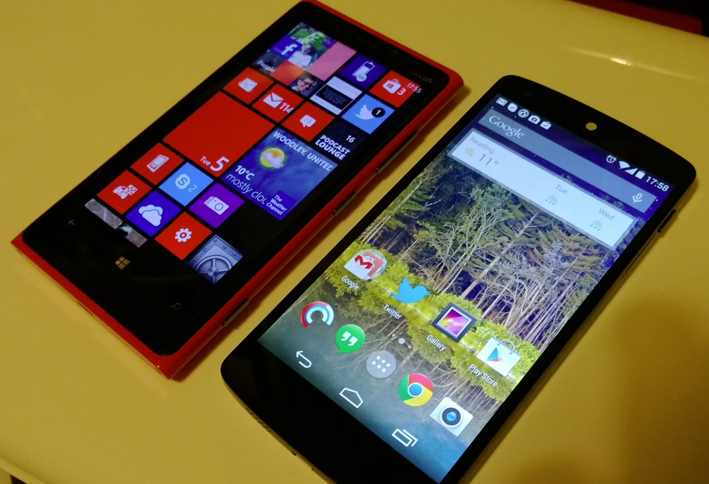 Lumia 920 and Google Nexus 5