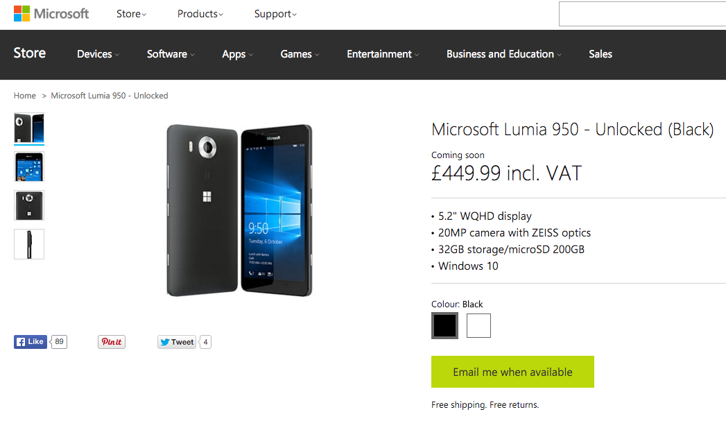 Official Lumia 950 and 950 XL pre-order prices come down by £50