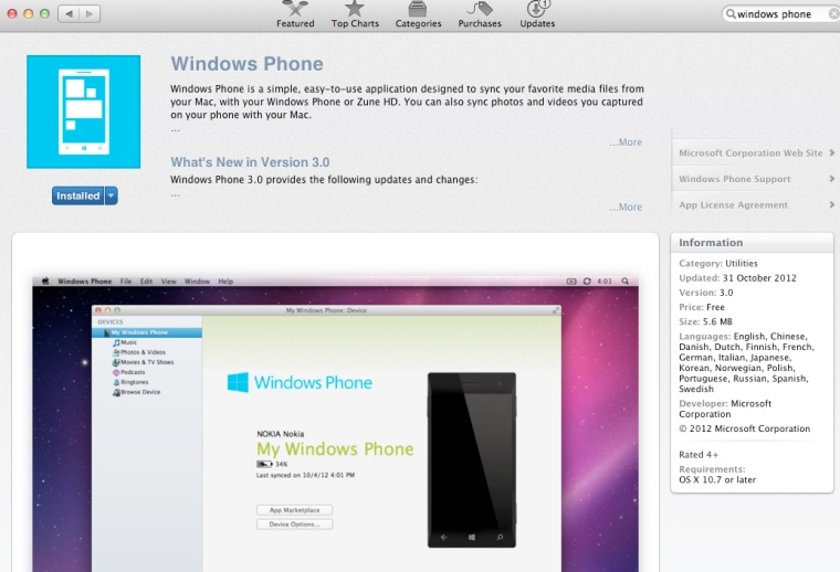 Windows Phone on OSX