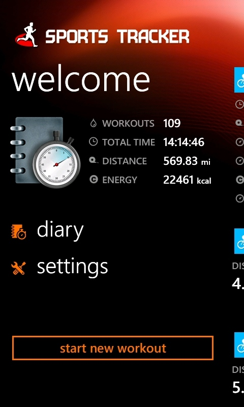 Sports Tracker on Windows Phone