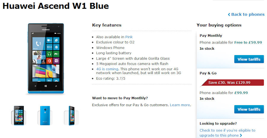 Huawei Ascend W1 drops to £99.99 on O2 (UK)