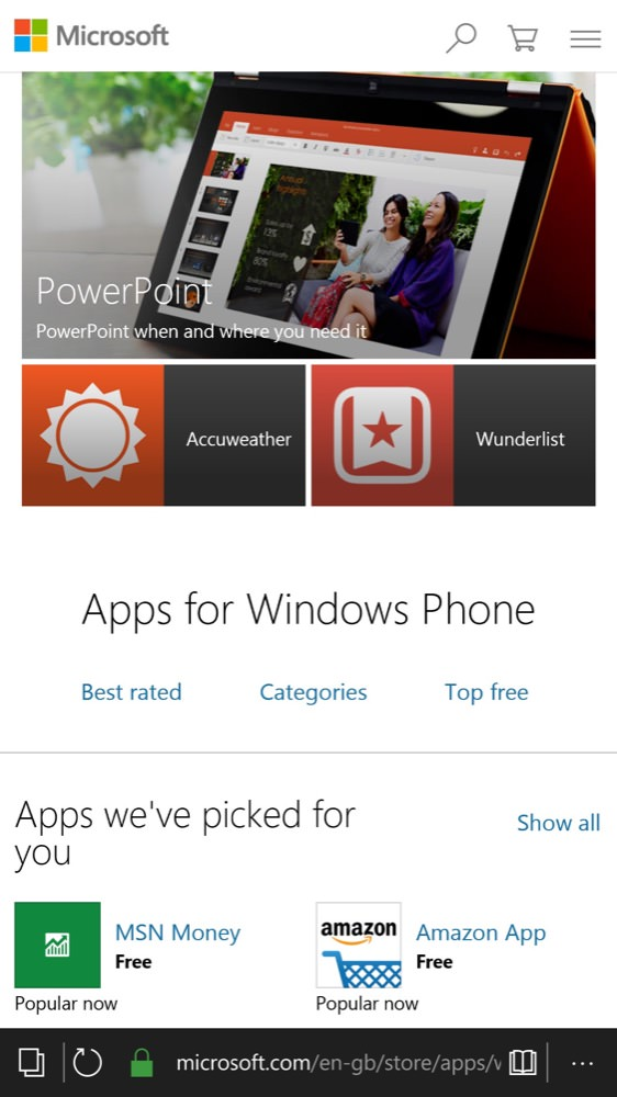 Screenshot from phone