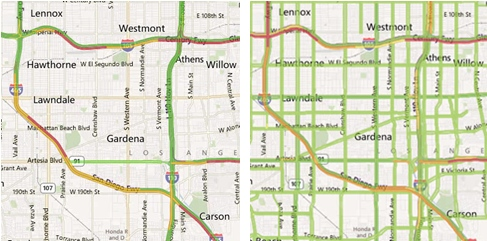 Maps trafic before and after