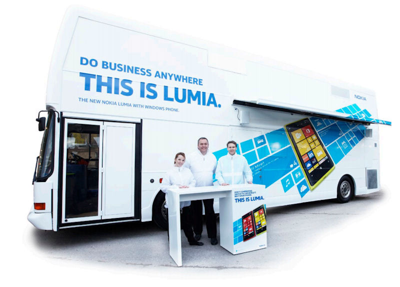 nokia s lumia roadshow bus offers demos and training on wheels