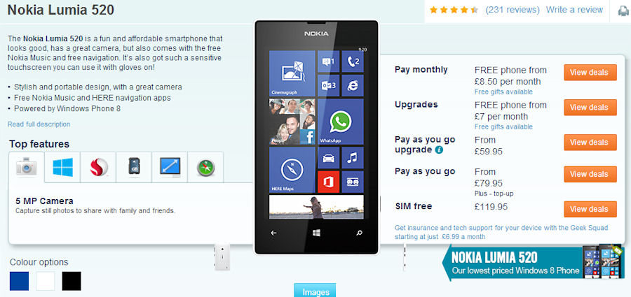 Nokia Lumia 520 available for £59.95 as PAYG upgrade ...