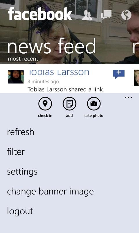 Facebook 2.3 on Windows Phones