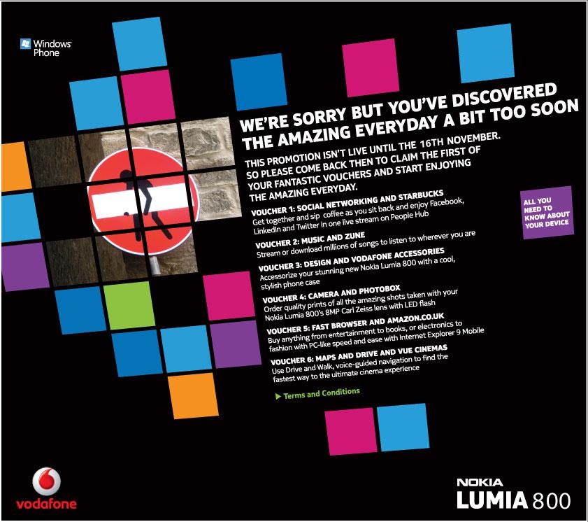 Vodafone Lumia 800 landing page