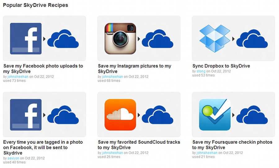 SkyDrive Recipies on IFTTT