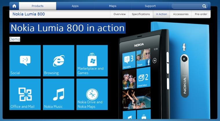 Nokia Lumia 800 on the web