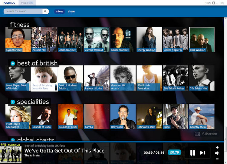 Nokia Music+ HTML5 version