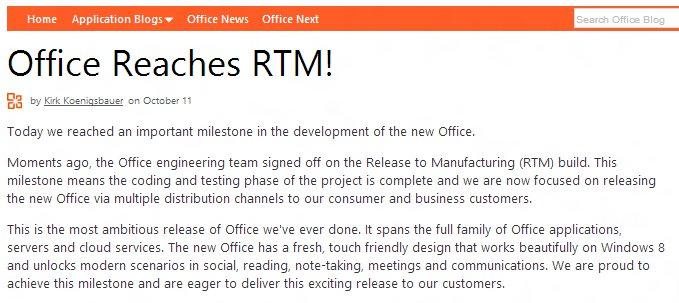Office RTM