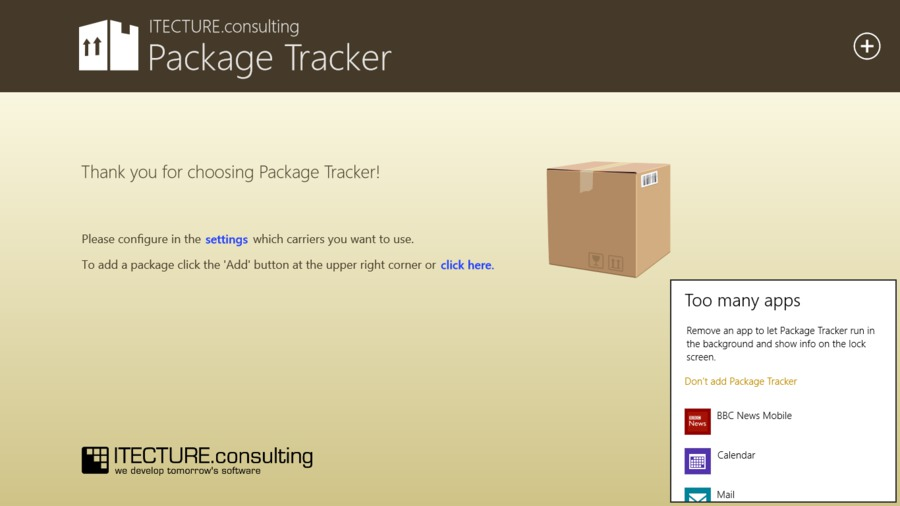 Package Tracker on Windows 8