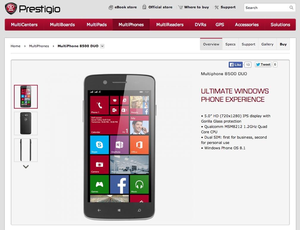Prestigio 8.1 phone