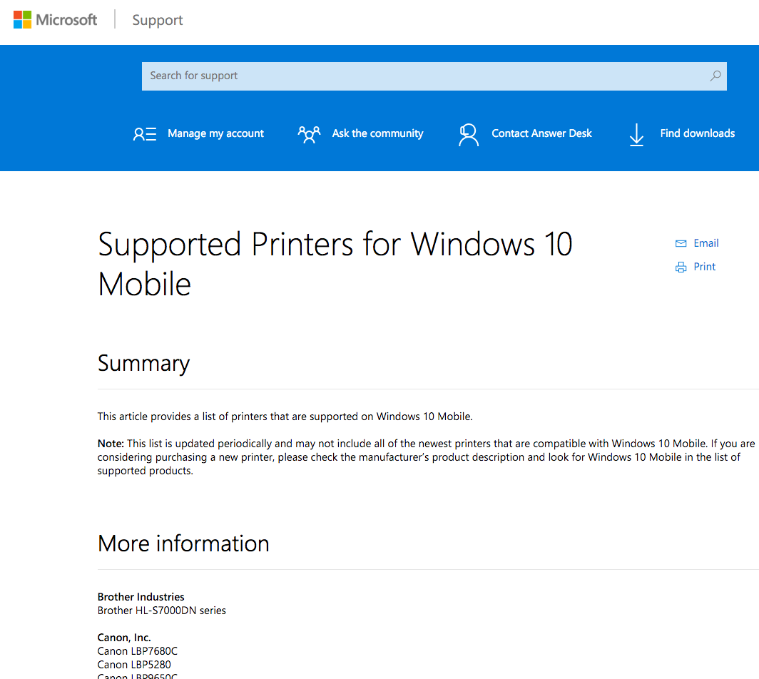 Supported Wi-fi/network printers for Windows 10 Mobile