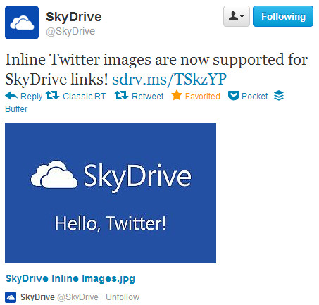 SkyDrive Inline Images Twitter