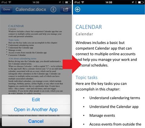 SkyDrive Pro on iOS