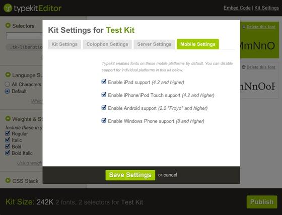 Typekit settings