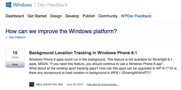 Screenshot from User Voice
