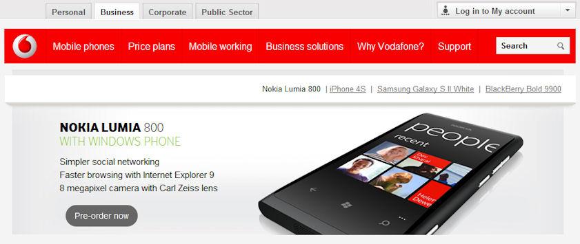 Vodafone splash