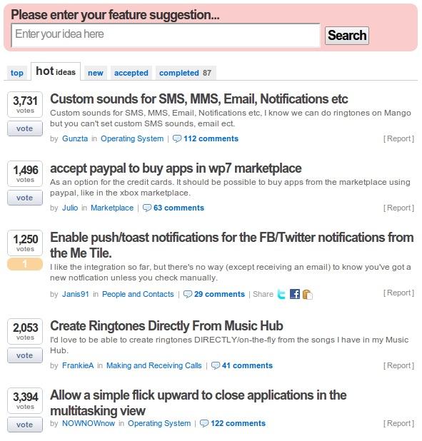 Windows Phone Uservoice polls