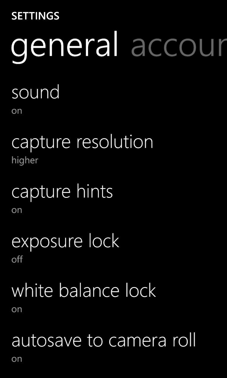 Screenshot, settings