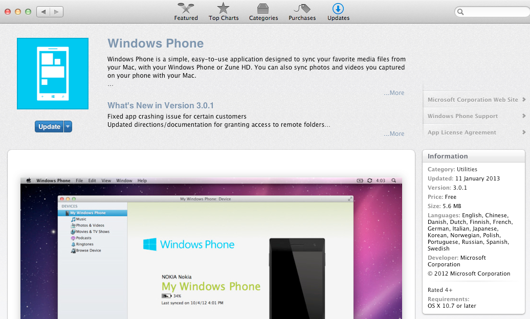 OSX Windows Phone update