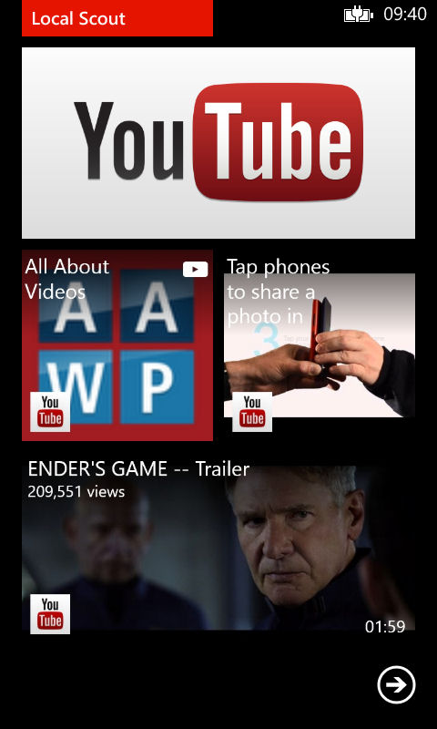 Screenshot, YouTube client