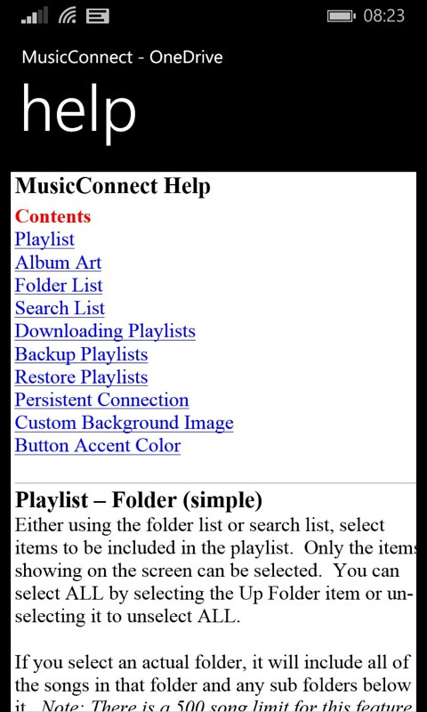 Screenshot, MusicConnect