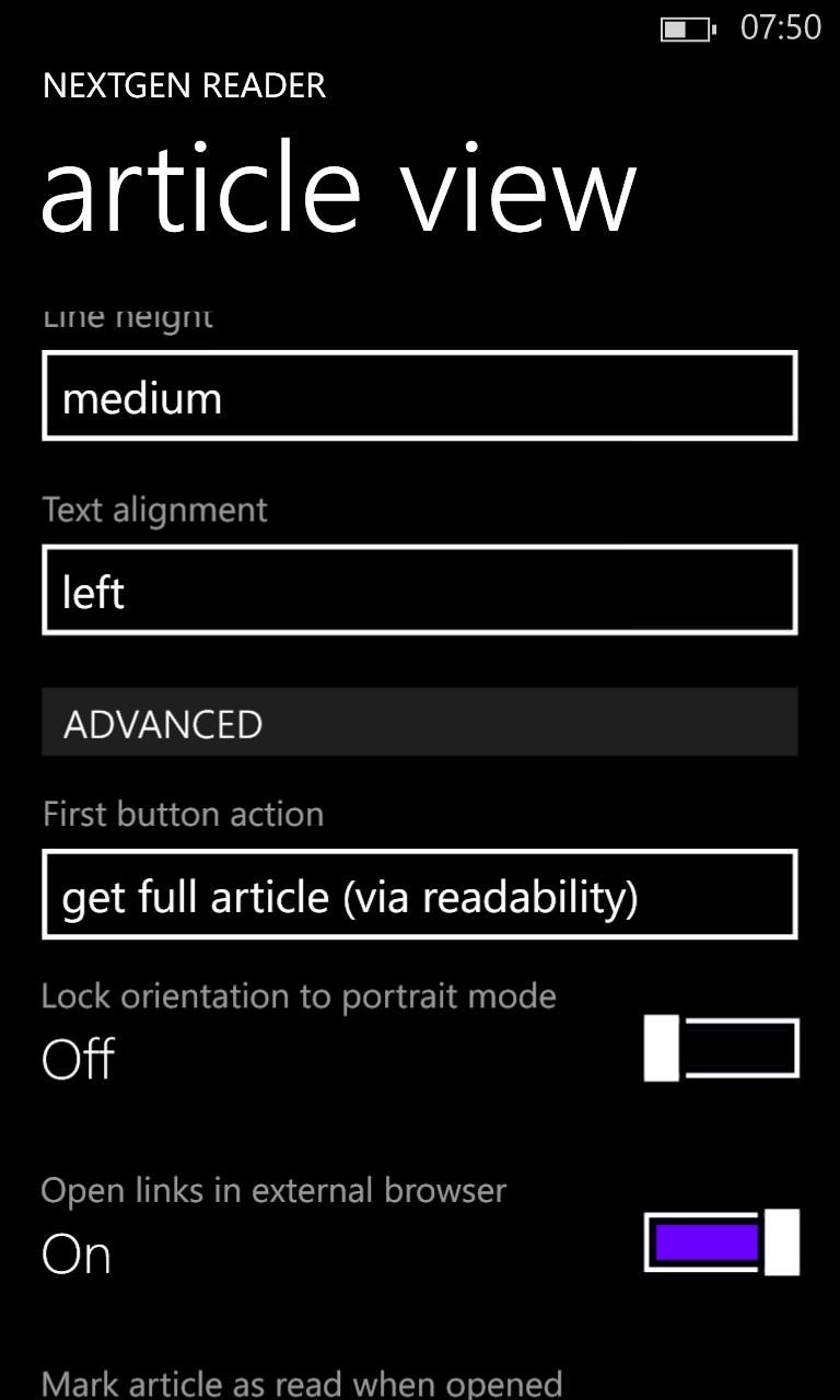 Screenshot, Nextgen Reader