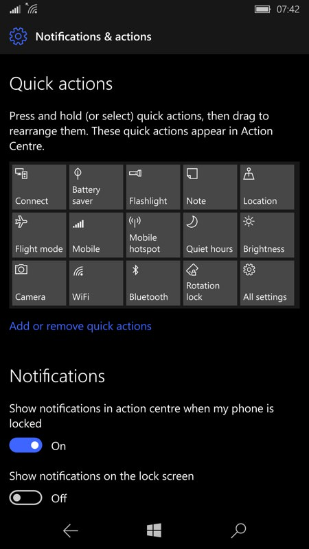 Notifications control