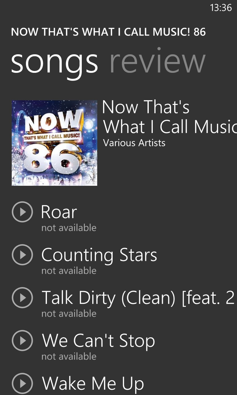 Screenshot, Now That's What I Call Music
