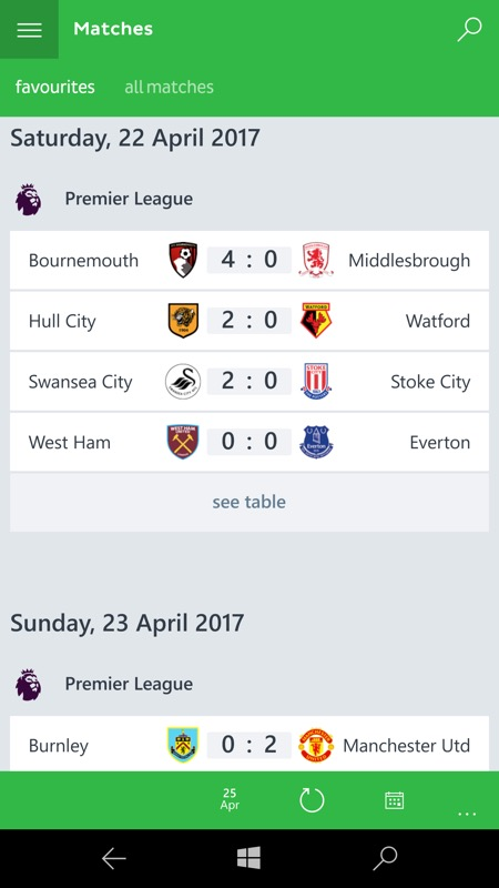 Screenshot, Onefootball UWP