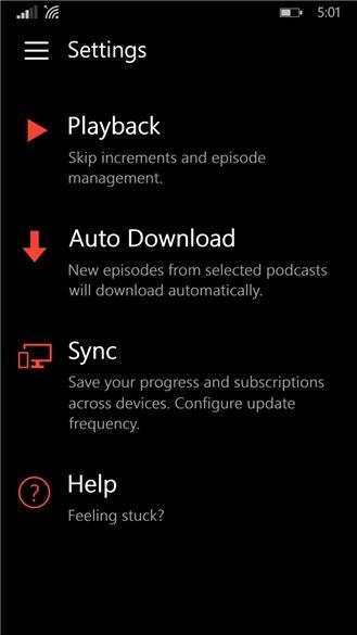 Screenshot, Pocket Casts for Windows Phone